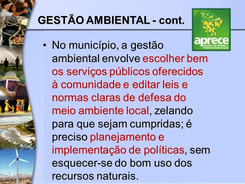 GESTÃO AMBIENTAL - cont.