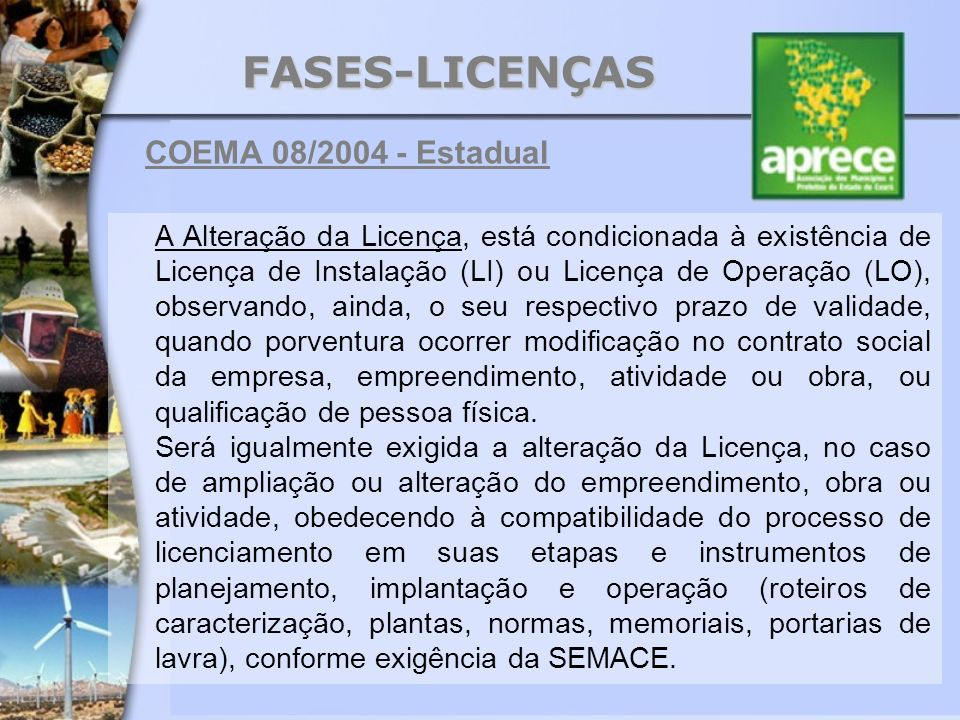 FASES-LICENÇAS COEMA 08/2004 - Estadual