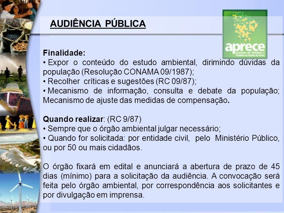 AUDIÊNCIA PÚBLICA Finalidade: