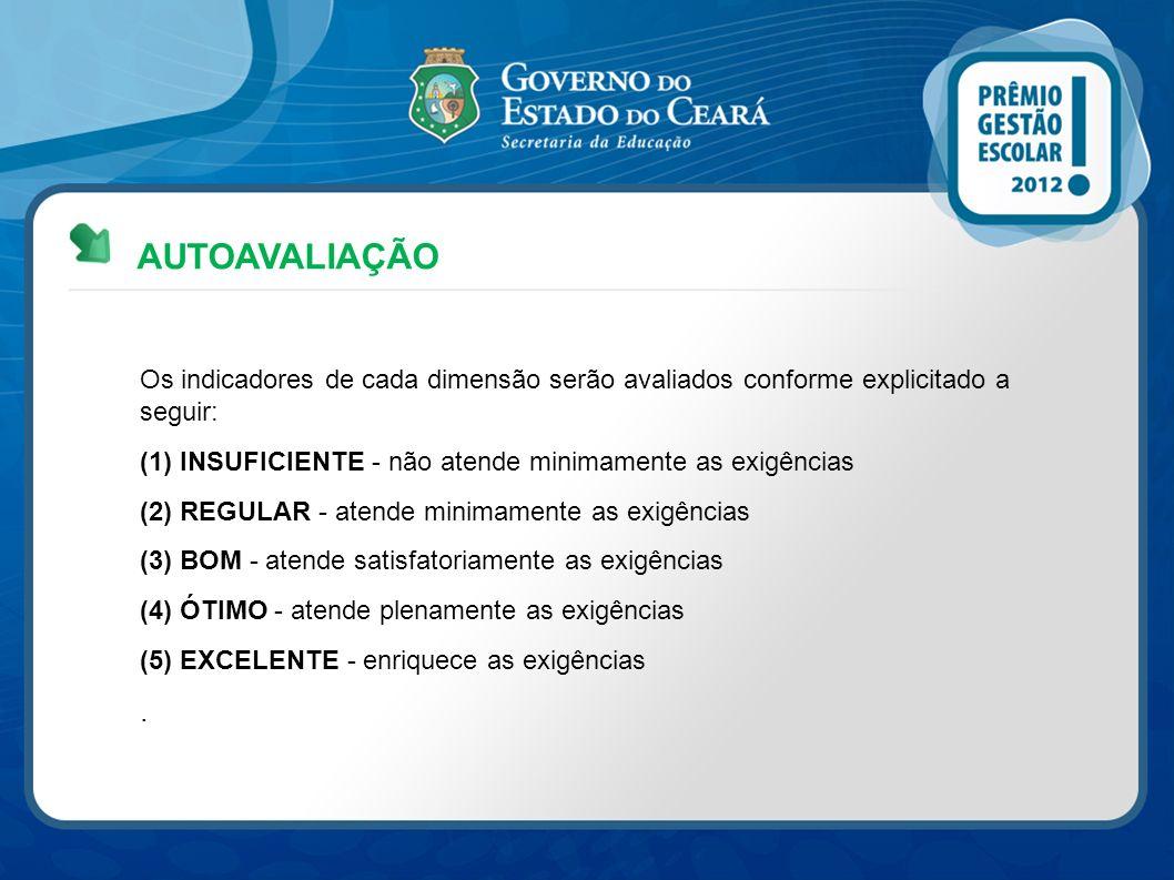 AUTOAVALIAÇÃO Os indicadores de cada dimensão serão avaliados conforme explicitado a seguir: