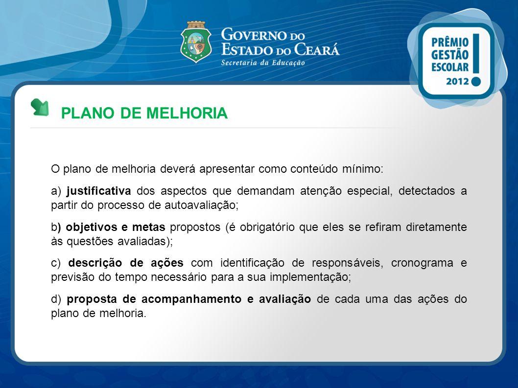 PLANO DE MELHORIA O plano de melhoria deverá apresentar como conteúdo mínimo:
