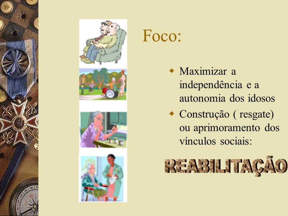 Foco: REABILITAÇÃO Maximizar a independência e a autonomia dos idosos