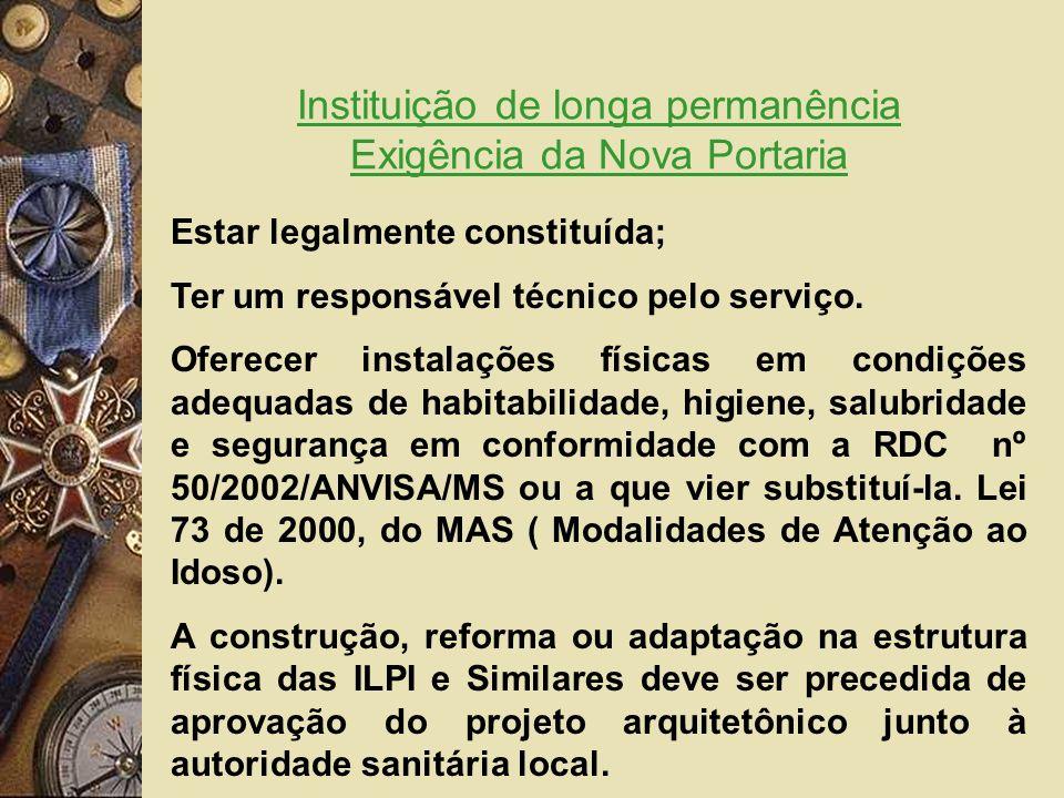 Instituição de longa permanência Exigência da Nova Portaria