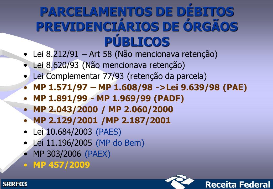 PARCELAMENTOS DE DÉBITOS PREVIDENCIÁRIOS DE ÓRGÃOS PÚBLICOS