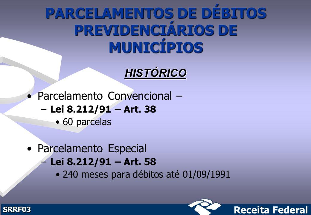 PARCELAMENTOS DE DÉBITOS PREVIDENCIÁRIOS DE MUNICÍPIOS
