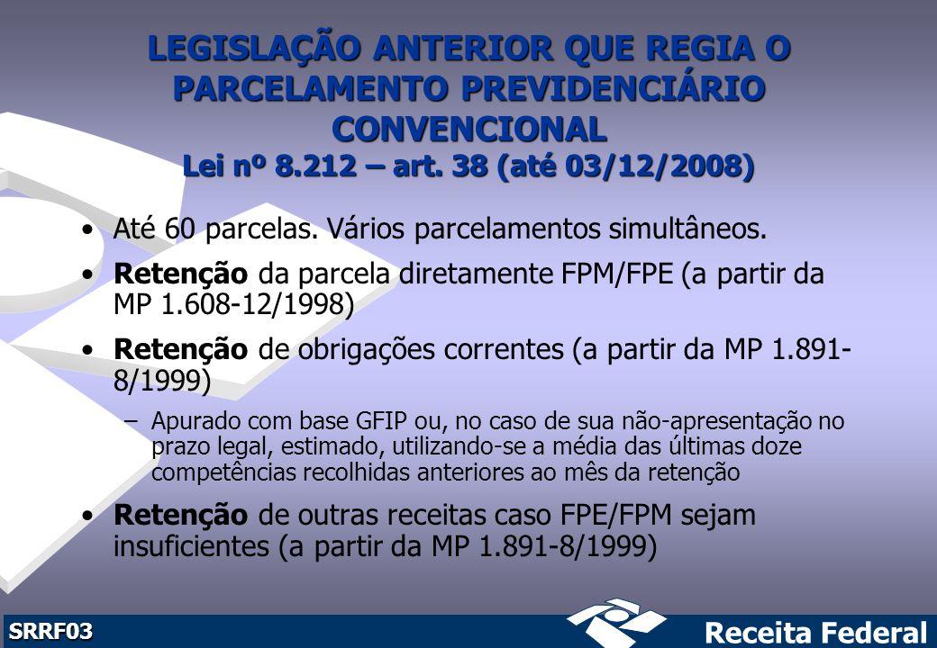 LEGISLAÇÃO ANTERIOR QUE REGIA O PARCELAMENTO PREVIDENCIÁRIO CONVENCIONAL Lei nº 8.212 – art. 38 (até 03/12/2008)