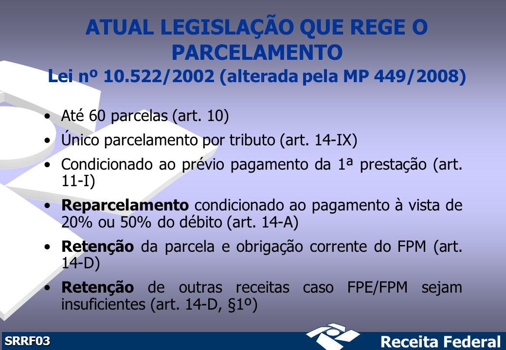 ATUAL LEGISLAÇÃO QUE REGE O PARCELAMENTO Lei nº 10