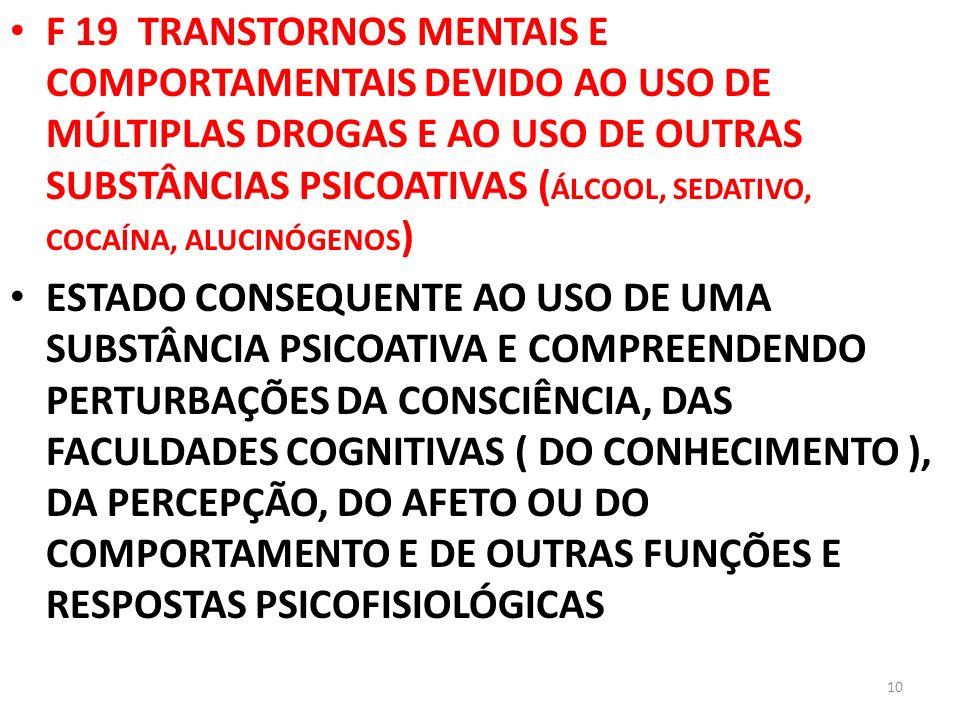 F 19 TRANSTORNOS MENTAIS E COMPORTAMENTAIS DEVIDO AO USO DE MÚLTIPLAS DROGAS E AO USO DE OUTRAS SUBSTÂNCIAS PSICOATIVAS (ÁLCOOL, SEDATIVO, COCAÍNA, ALUCINÓGENOS)