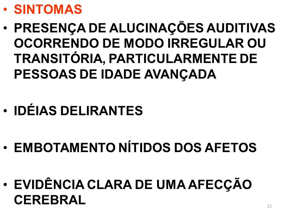 SINTOMAS PRESENÇA DE ALUCINAÇÕES AUDITIVAS OCORRENDO DE MODO IRREGULAR OU TRANSITÓRIA, PARTICULARMENTE DE PESSOAS DE IDADE AVANÇADA.