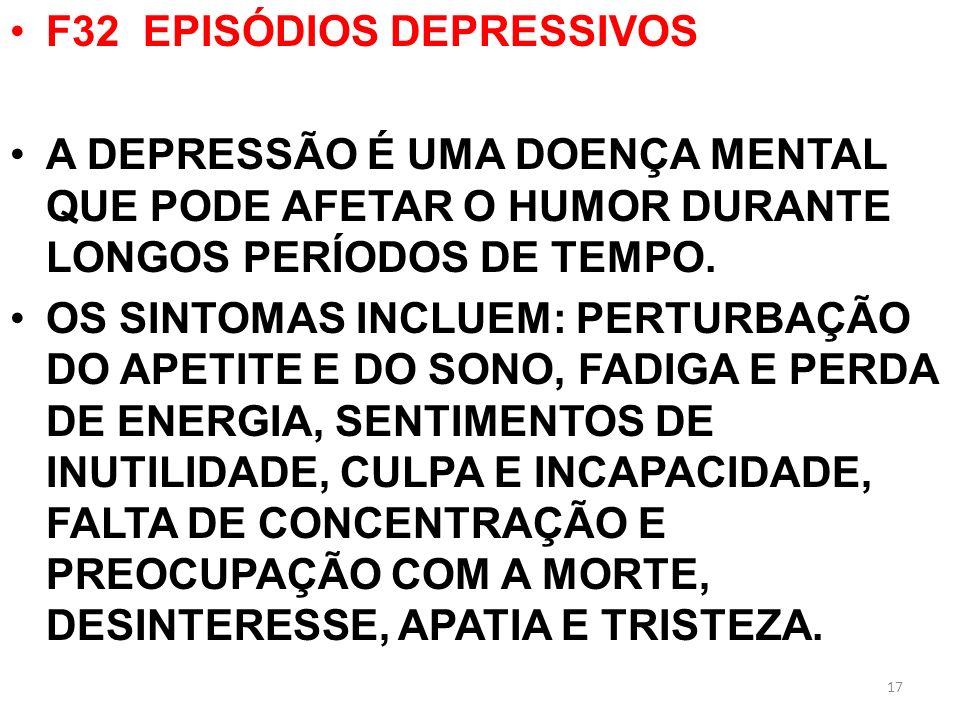 F32 EPISÓDIOS DEPRESSIVOS