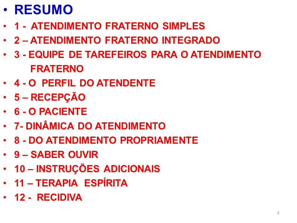RESUMO 1 - ATENDIMENTO FRATERNO SIMPLES