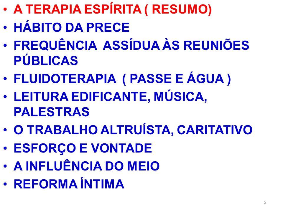 A TERAPIA ESPÍRITA ( RESUMO)