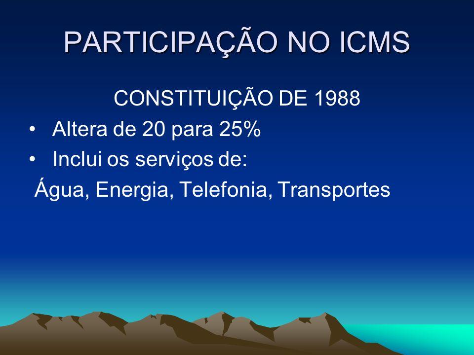 PARTICIPAÇÃO NO ICMS CONSTITUIÇÃO DE 1988 Altera de 20 para 25%