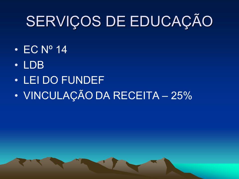 SERVIÇOS DE EDUCAÇÃO EC Nº 14 LDB LEI DO FUNDEF