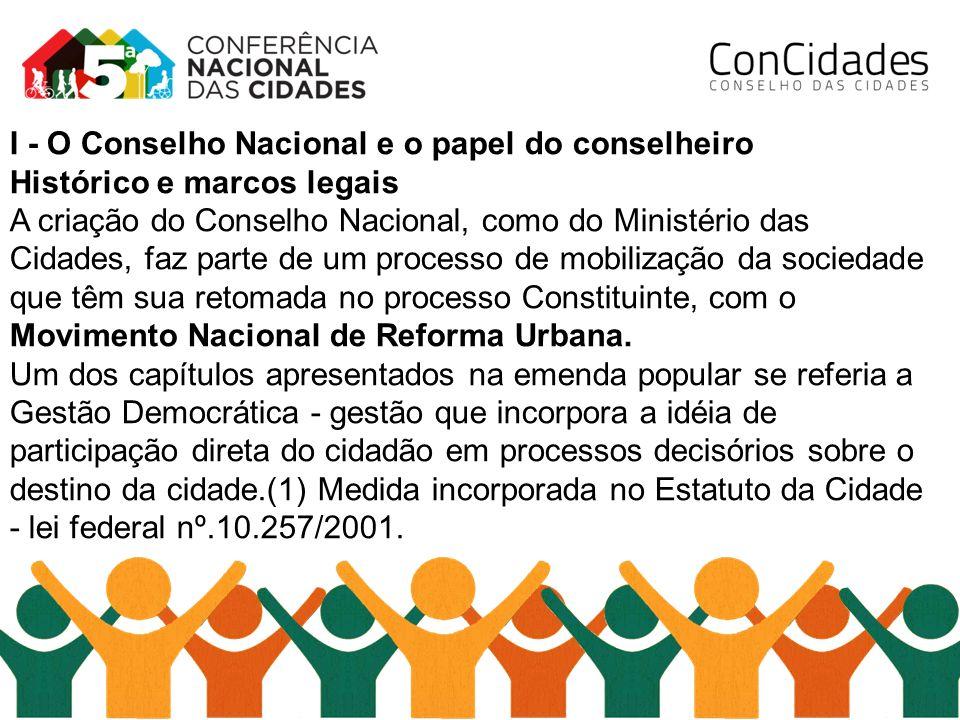 I - O Conselho Nacional e o papel do conselheiro