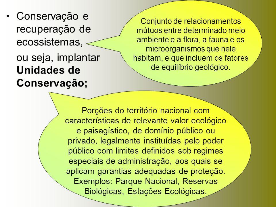 Conservação e recuperação de ecossistemas,