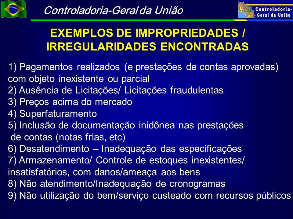 EXEMPLOS DE IMPROPRIEDADES / IRREGULARIDADES ENCONTRADAS