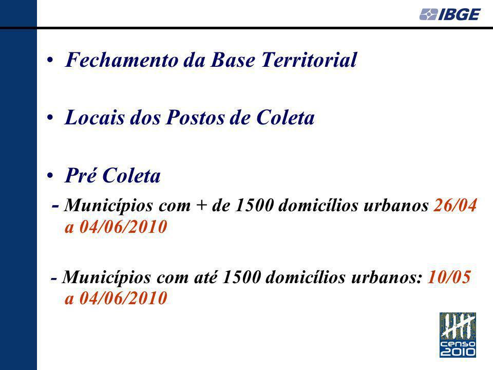 Fechamento da Base Territorial Locais dos Postos de Coleta Pré Coleta