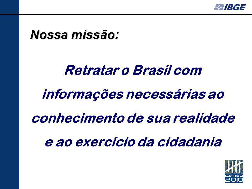 Nossa missão: Retratar o Brasil com informações necessárias ao conhecimento de sua realidade e ao exercício da cidadania.