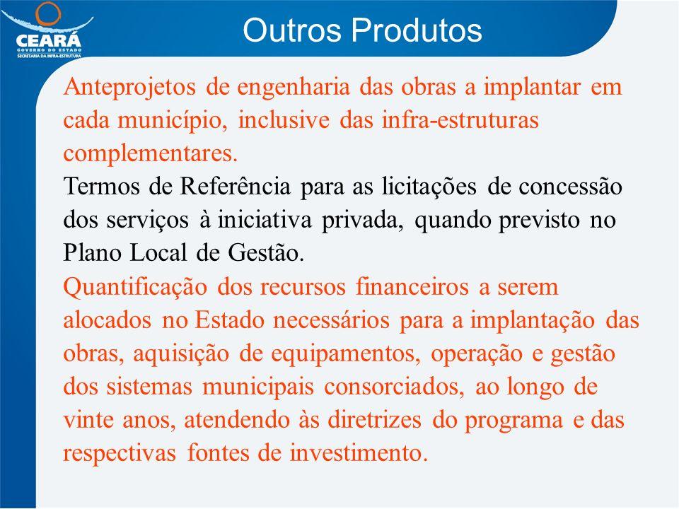 Outros Produtos Anteprojetos de engenharia das obras a implantar em cada município, inclusive das infra-estruturas complementares.