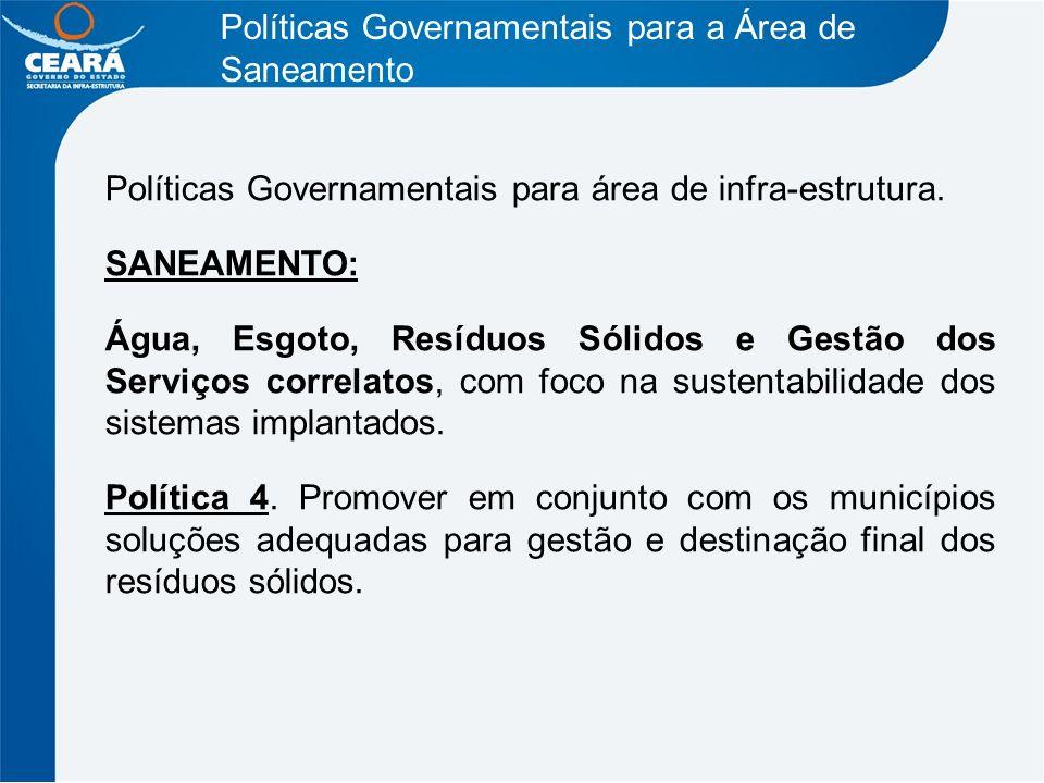 Políticas Governamentais para a Área de Saneamento