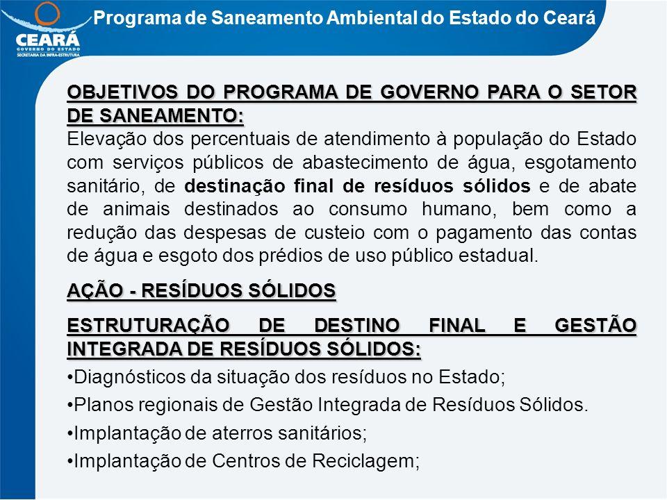 OBJETIVOS DO PROGRAMA DE GOVERNO PARA O SETOR DE SANEAMENTO: