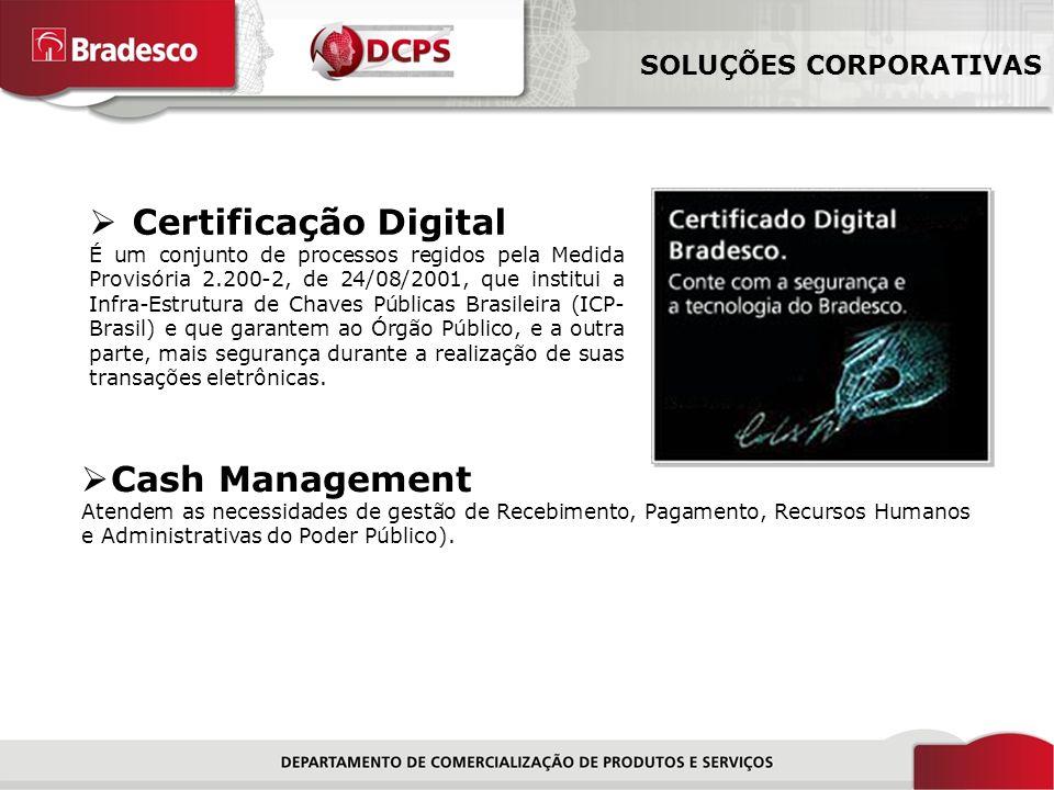 Certificação Digital Cash Management SOLUÇÕES CORPORATIVAS