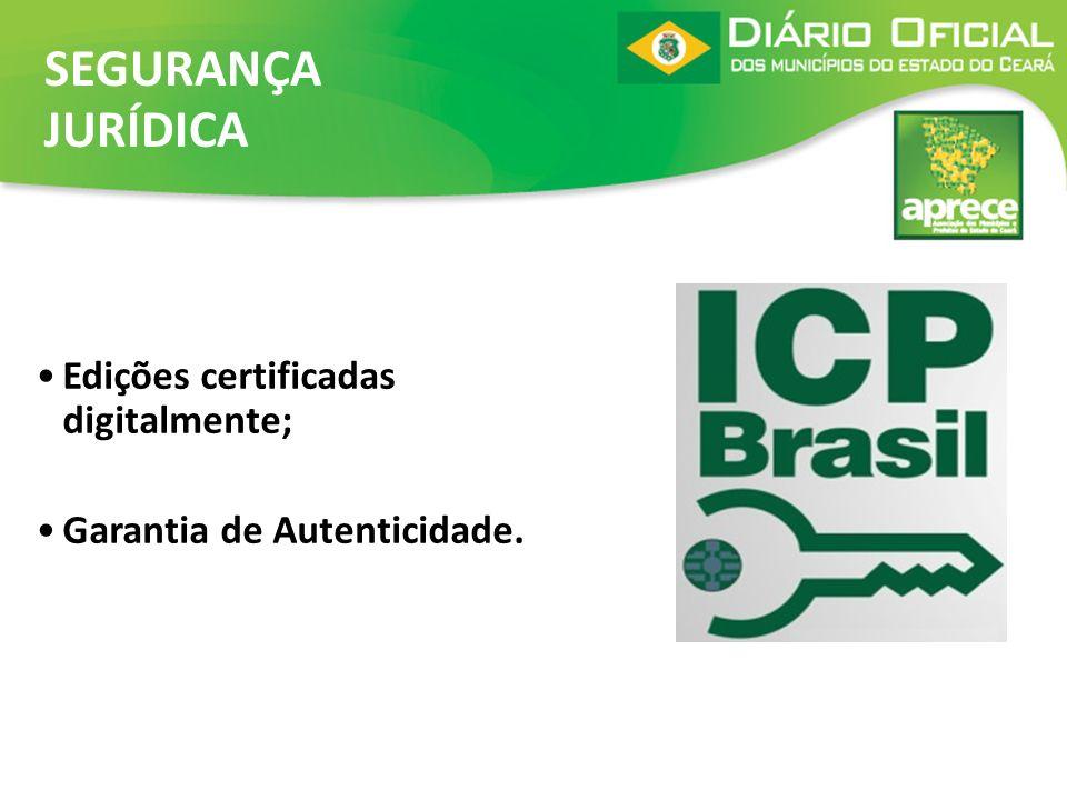 SEGURANÇA JURÍDICA Edições certificadas digitalmente;