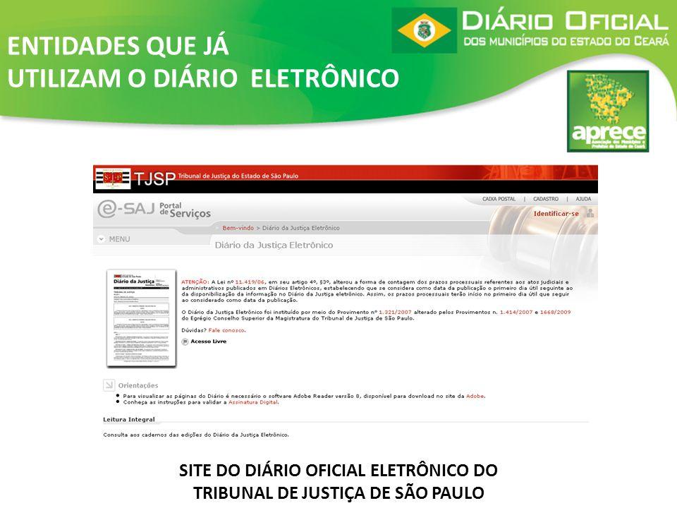 SITE DO DIÁRIO OFICIAL ELETRÔNICO DO TRIBUNAL DE JUSTIÇA DE SÃO PAULO