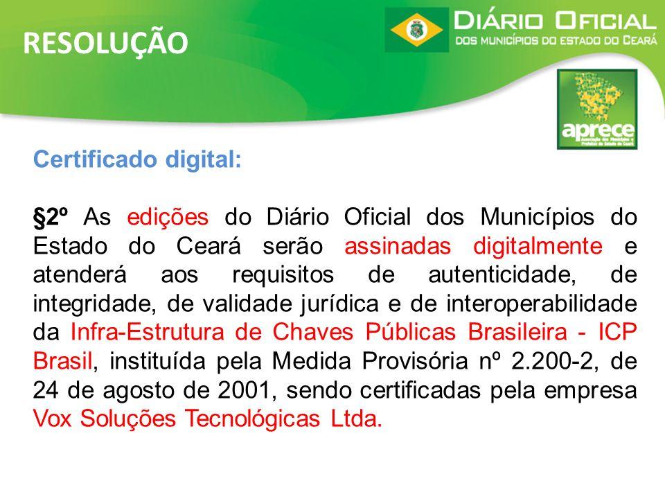 RESOLUÇÃO Certificado digital: