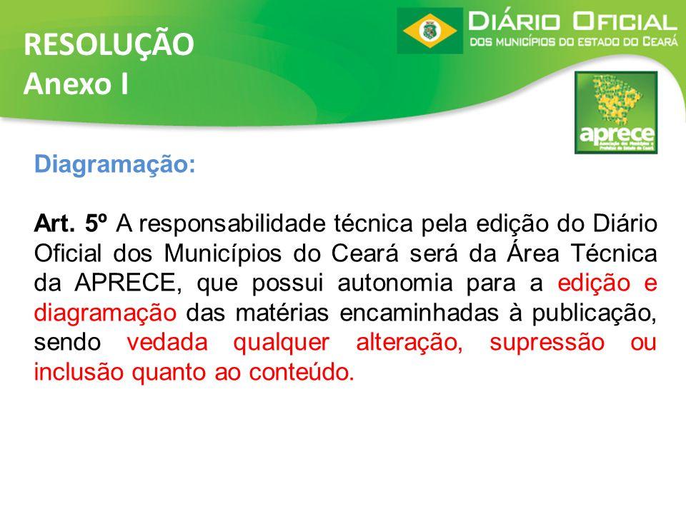 RESOLUÇÃO Anexo I Diagramação: