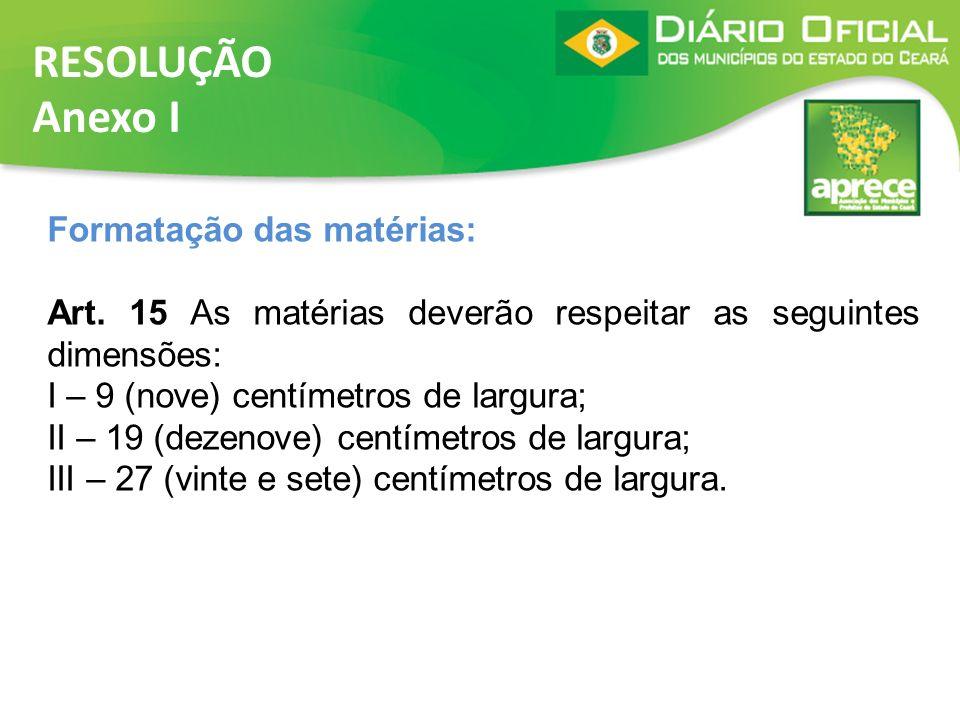 RESOLUÇÃO Anexo I Formatação das matérias:
