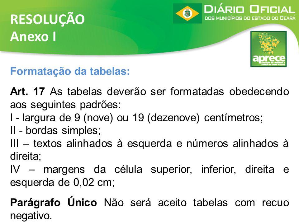 RESOLUÇÃO Anexo I Formatação da tabelas: