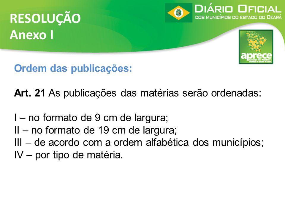 RESOLUÇÃO Anexo I Ordem das publicações: