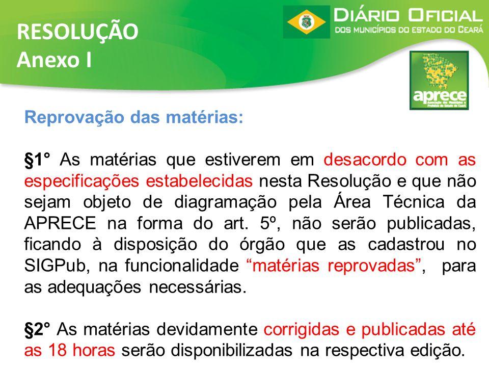 RESOLUÇÃO Anexo I Reprovação das matérias: