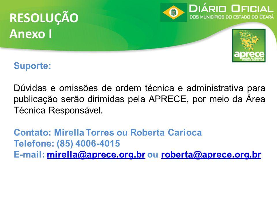 RESOLUÇÃO Anexo I Suporte: