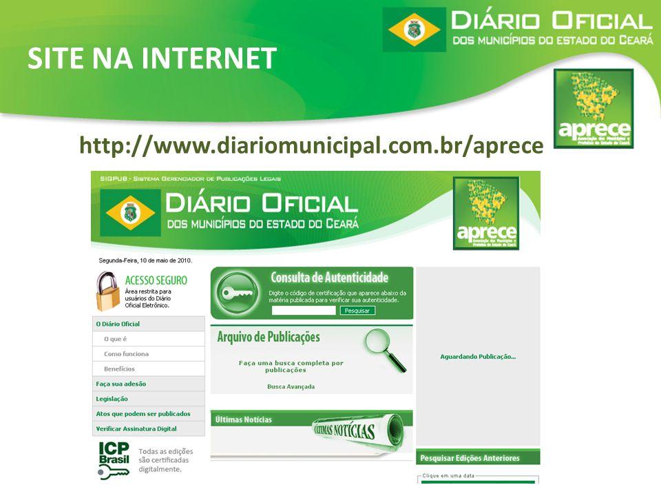SITE NA INTERNET http://www.diariomunicipal.com.br/aprece