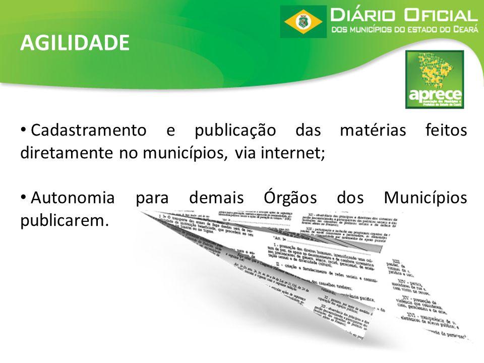 AGILIDADE Cadastramento e publicação das matérias feitos diretamente no municípios, via internet;