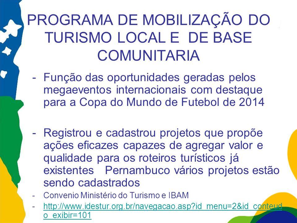 PROGRAMA DE MOBILIZAÇÃO DO TURISMO LOCAL E DE BASE COMUNITARIA