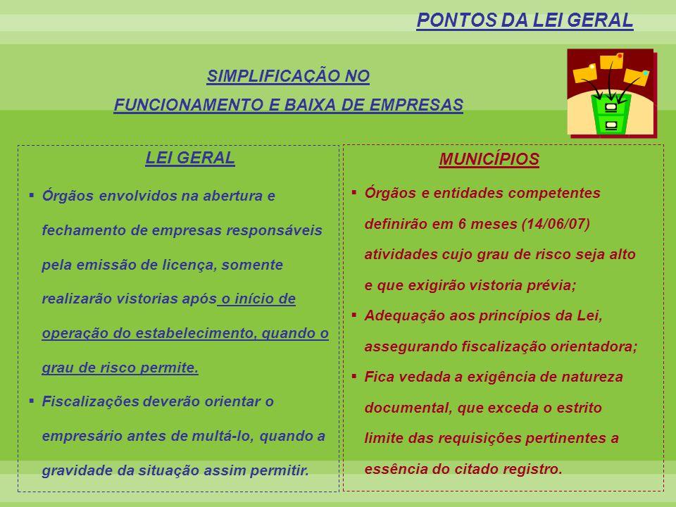 FUNCIONAMENTO E BAIXA DE EMPRESAS