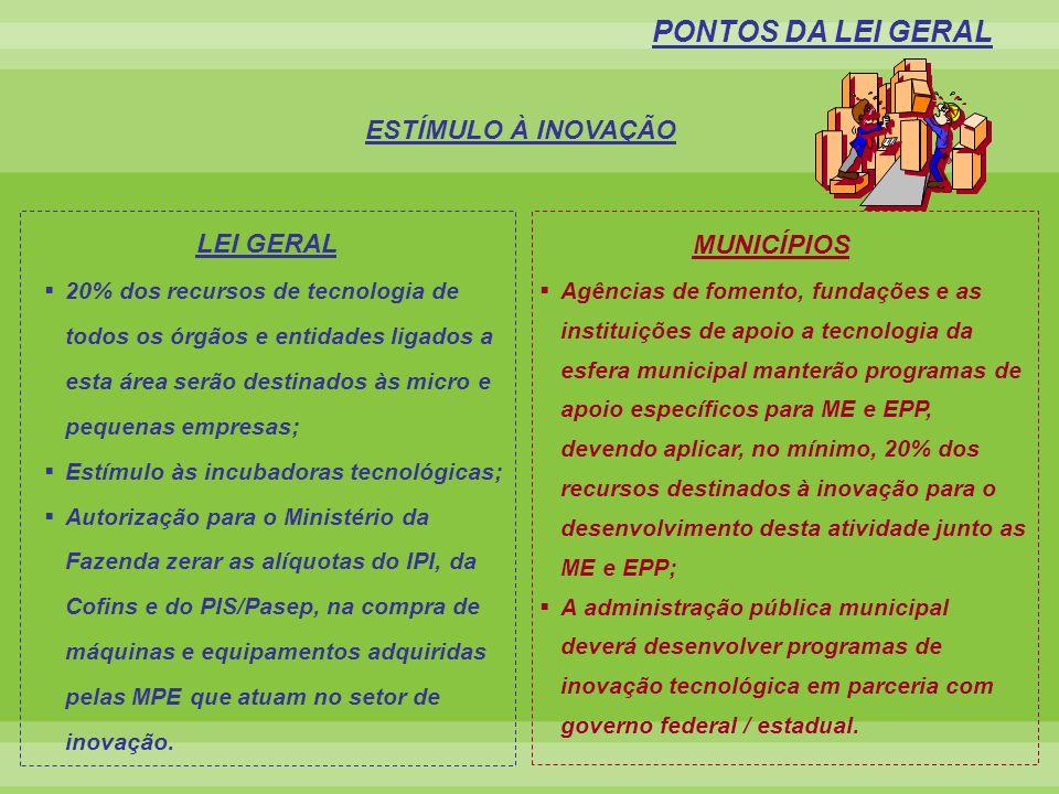 PONTOS DA LEI GERAL ESTÍMULO À INOVAÇÃO MUNICÍPIOS LEI GERAL