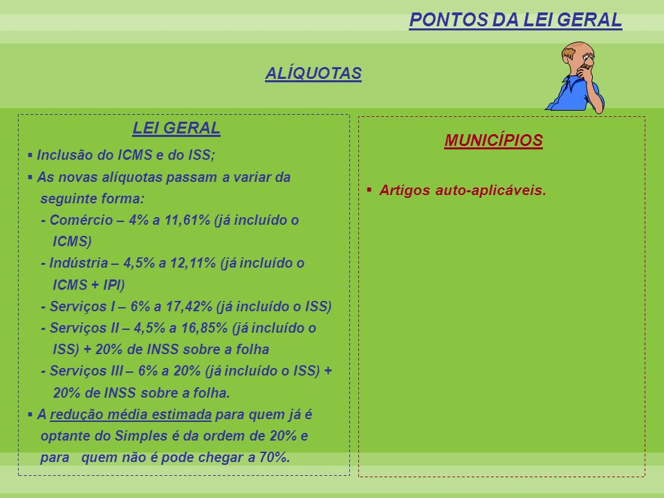 PONTOS DA LEI GERAL ALÍQUOTAS LEI GERAL MUNICÍPIOS