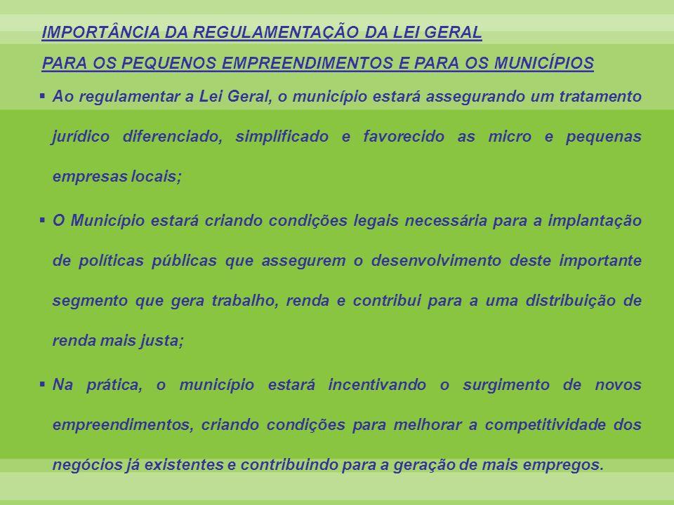 IMPORTÂNCIA DA REGULAMENTAÇÃO DA LEI GERAL PARA OS PEQUENOS EMPREENDIMENTOS E PARA OS MUNICÍPIOS