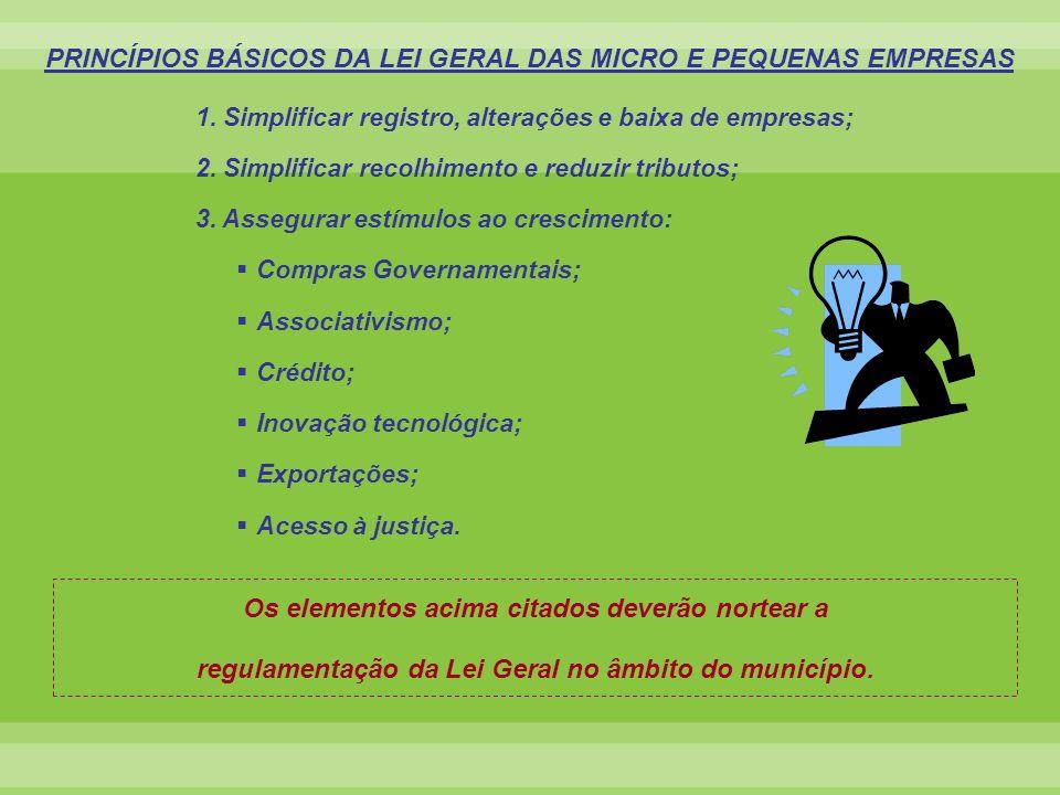 PRINCÍPIOS BÁSICOS DA LEI GERAL DAS MICRO E PEQUENAS EMPRESAS