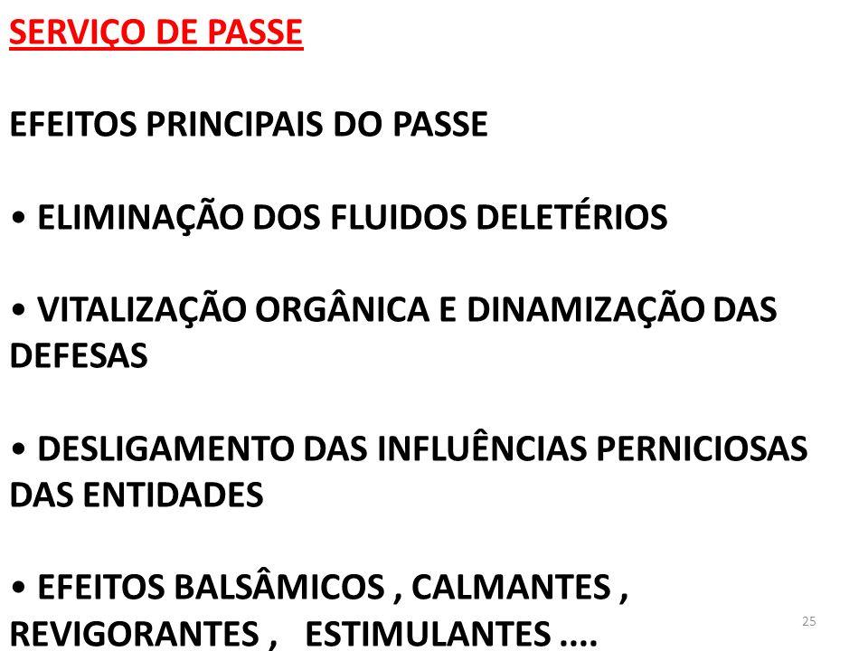 SERVIÇO DE PASSE EFEITOS PRINCIPAIS DO PASSE. ELIMINAÇÃO DOS FLUIDOS DELETÉRIOS. VITALIZAÇÃO ORGÂNICA E DINAMIZAÇÃO DAS DEFESAS.
