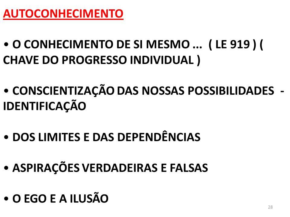 AUTOCONHECIMENTO O CONHECIMENTO DE SI MESMO ... ( LE 919 ) ( CHAVE DO PROGRESSO INDIVIDUAL )