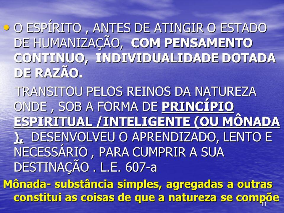 O ESPÍRITO , ANTES DE ATINGIR O ESTADO DE HUMANIZAÇÃO, COM PENSAMENTO CONTINUO, INDIVIDUALIDADE DOTADA DE RAZÃO.