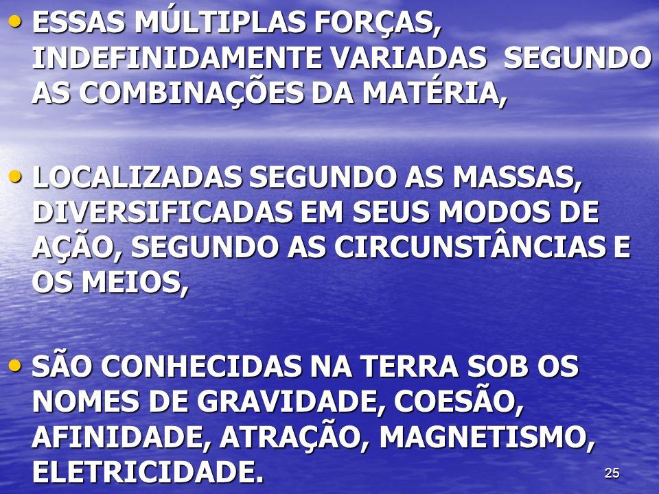 ESSAS MÚLTIPLAS FORÇAS, INDEFINIDAMENTE VARIADAS SEGUNDO AS COMBINAÇÕES DA MATÉRIA,