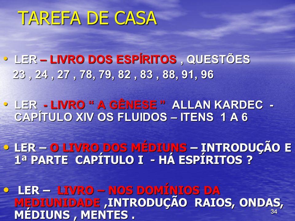 TAREFA DE CASA LER – LIVRO DOS ESPÍRITOS , QUESTÕES