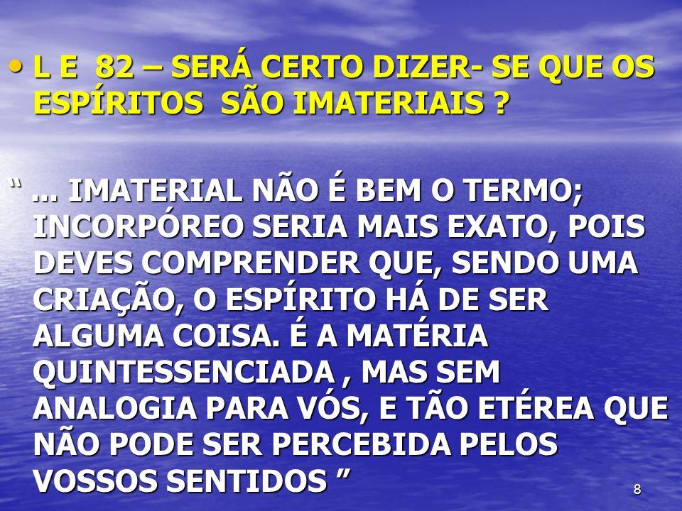 L E 82 – SERÁ CERTO DIZER- SE QUE OS ESPÍRITOS SÃO IMATERIAIS